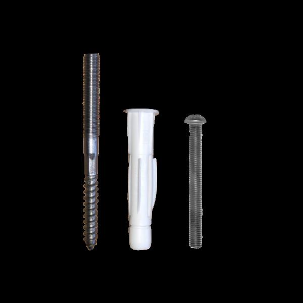 Montageset mit Stockschraube, Dübel und Linsenkopfschraube